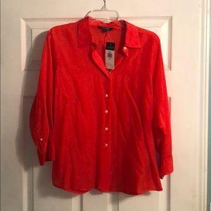 Sheer orange 3/4 length sleeves blouse.